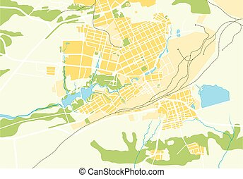 Vector Geo Map of The City Color bright decorative...