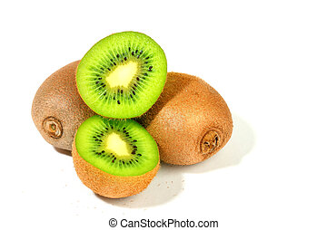 kiwi isolated on white background macro close up