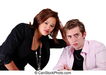 Worried couple - Attractive couple with worry expression