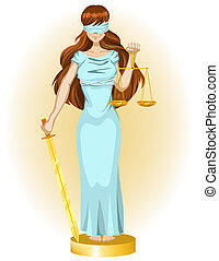 Justice girl. Illustration in vector format EPS