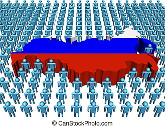 Russia map flag with many people