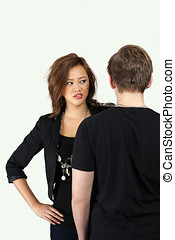 Young couple in angry moment - Young couple relationship in...