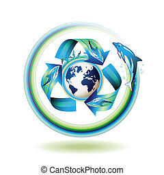 Ecology icon with dolphins, recycle water, vector...