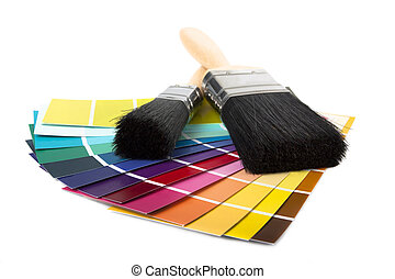 paint brush and multi coloured swatches - paintbrush and...