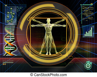 Technological man - Image of an ideal figure male analyzed...