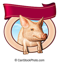 Pig label - Cute pig in a food label, copyspace to insert...