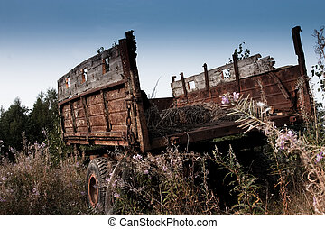 Old tractor trailer - Abandoned old tractor trailer, in the...