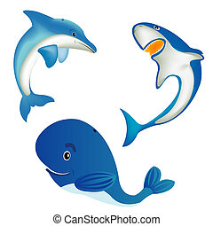 Sea animals whale,shark and dolphin