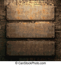 rusty metal and wood plate made in vector