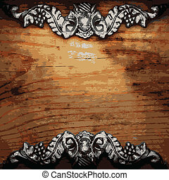 iron ornament on wood made in vector