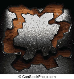 iron plate on wood