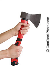 Isolated image of red axe in man hand