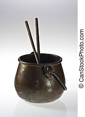 Copper pot with chopsticks - Old copper pot with two...