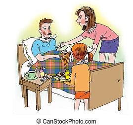 Mother and daughter taking care of ill father - Hand drawn...
