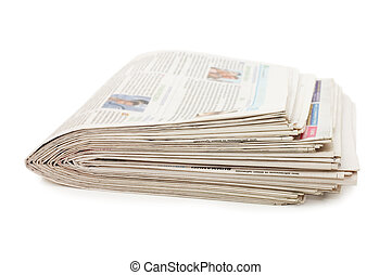 Various newspapers over white background