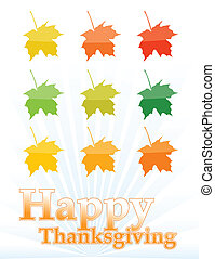happy thanksgiving leafs card isolated over white