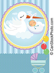 Baby shower card - A vector illustration of a baby shower...