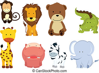 salvaje, animal, caricaturas