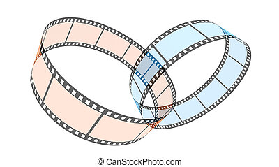 Two 3d blank films rings over white background