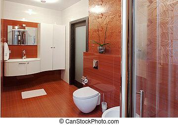 ducha, moderno, bidé, cabaña