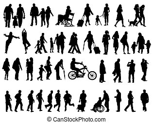 People silhouettes - Another over fifty people black...