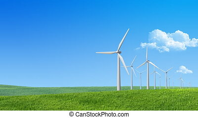 Wind turbines propellers - Looped 4 sec. wind turbines...