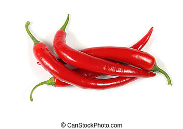 Cayenne - Red, fresh cayenne peppers. Vegetables isolated on...