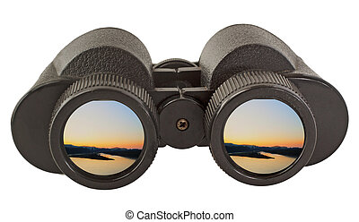 Binocular - Black old binocular isolated over white...