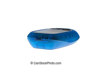 blue diabetic blood glucose meter
