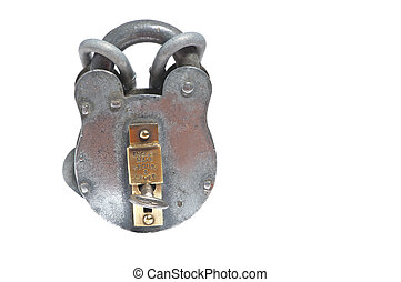 shiny english padlock and chain - antique heavy duty padlock...
