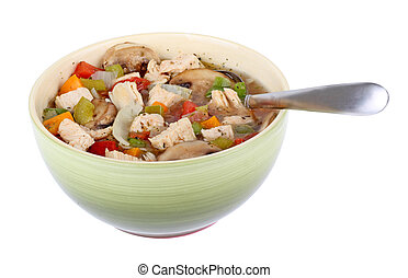 Chicken Vegetable Soup Isolated
