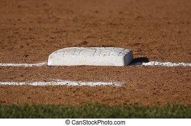 baseball base closeup - Closeup of a base on a baseball...