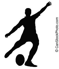 Sport Silhouette - Rugby Football Kicker place kicking the...