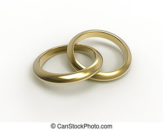 Alliances - 3d illustration of wedding rings over white...