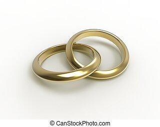 Alliances - 3d illustration of wedding rings over white...