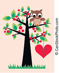 little brown owl with a red heart