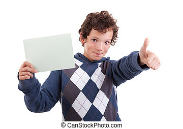 cute boy with a paperboard in hand giving consent, with...