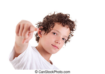 Cute Boy pointing, isolated on white, studio shot