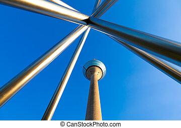 Dusseldorf, Germany - The Rhine Tower (Rheinturm) in...