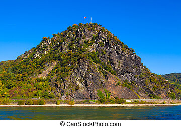 Loreley, Germany - The famous Loreley rock on the bank of...