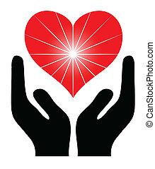 Image of the hands holding red heart Vector illustration
