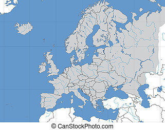 European map - Map of Europe showing lines of longitude and...