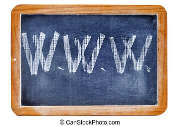 www written with chalk in a blackboard