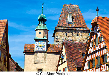 Rothenburg ob der Tauber, Germany - Markusturm tower in...