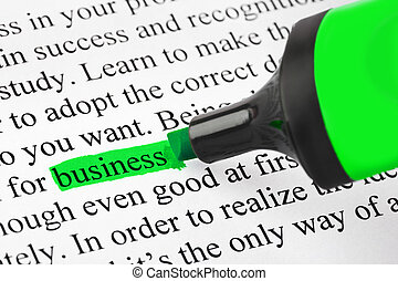 Highlighter and word business - concept background