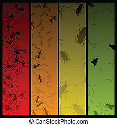 Four insect and spider banners