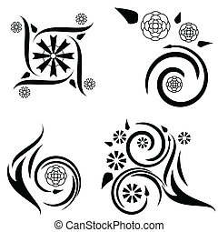 Four floral tattoo designs - Set of four tattoo designs with...