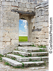 Old stone entrance to the green field