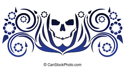 Skull with flourishes - Simple stylized skull tattoo with...