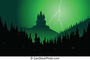 Spooky forest and castle - Brooding castle rising from a...